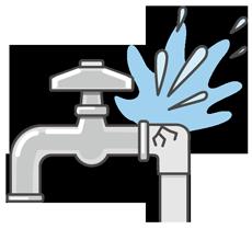 故障した水道管